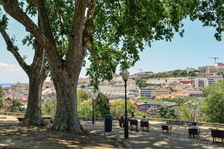 LISBON, PORTUGAL - JULY 4, 2019: The Torel Garden (Jardim do Torel) at sunny day in the city of Lisbon, Portugal.