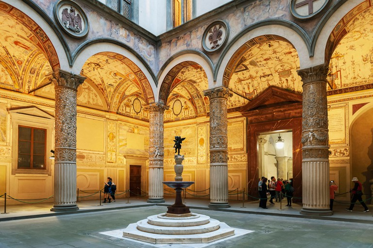 Interior of the First Courtyard of Palazzo Vecchio, the town hall of Florence located on Piazza della Signoria (Signoria square) in Florence, Italy