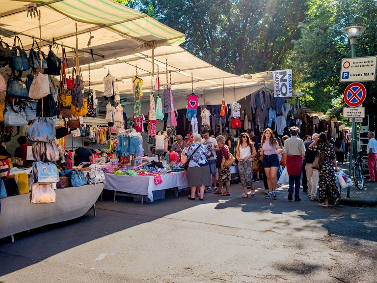 La Lizza Market held every Wednesday morning in Siena, Italy.