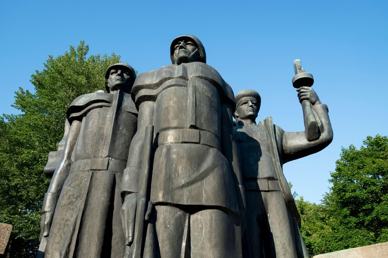 A bronze sculpture at the USSR Soldier Memorial, dedicated to those slain during WWII. In Klaipeda, Lithuania.