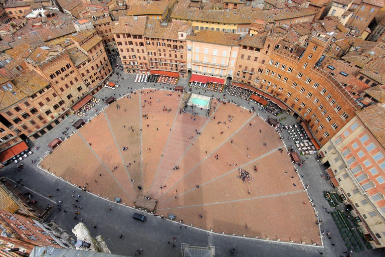 Piazza del Campo as seen from the Torre del Mangia