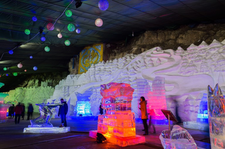 Beijing / China - February 12, 2015: Ice sculptures at Yanqing Longqing Gorge Ice and Snow Festival traditionally held every winter in Yanqing Distric