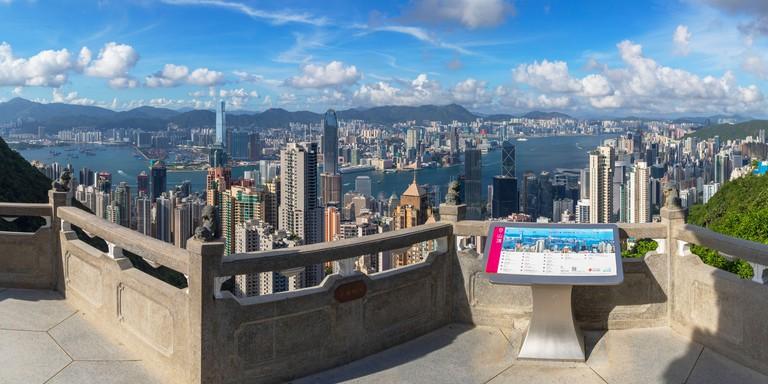 Lion Pavilion on Victoria Peak and skyline, Hong Kong
