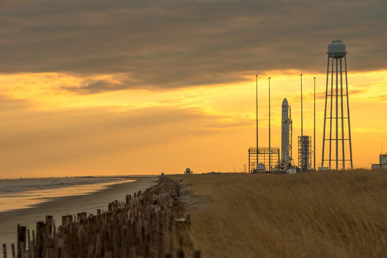 An Orbital Sciences Corporation Antares rocket is seen on launch Pad-0A at NASA's Wallops Flight Facility, Monday, January 6, 2014 in advance of a planned Wednesday, Jan. 8th, 1:32 p.m. EST launch, Wallops Island, VA. The Antares will launch a Cygnus spac