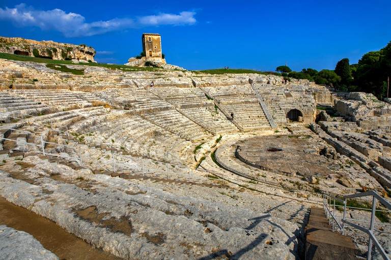 Greek Theater (Teatro Creco) at Neapolis Archaeological Park, Syracuse, Sicily, Italy