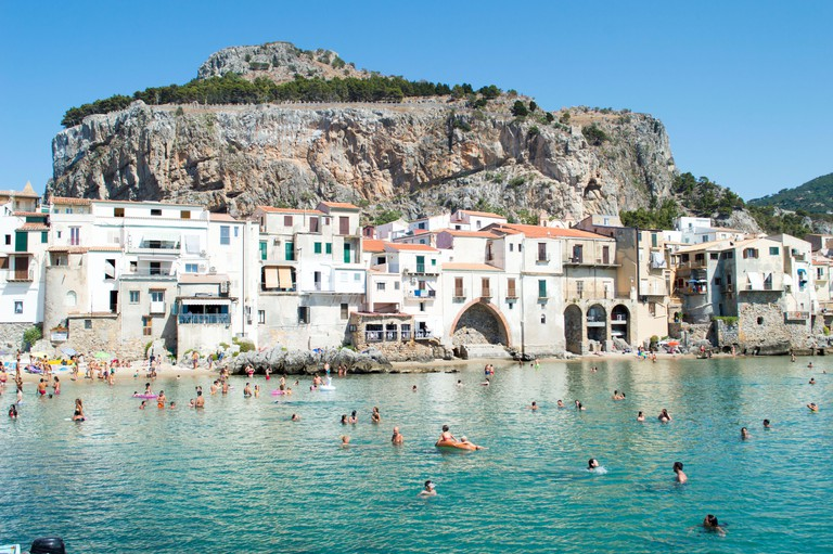 Cefalu, Palermo, Italy, July 2020. Detail of this little sea town and of its nice beach