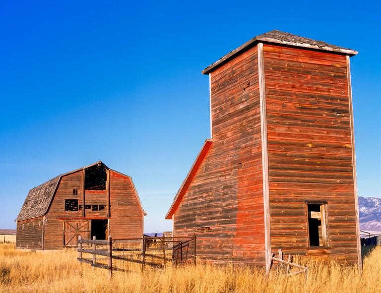 2DG5KP6 old grain bin and barn near manhattan, montana