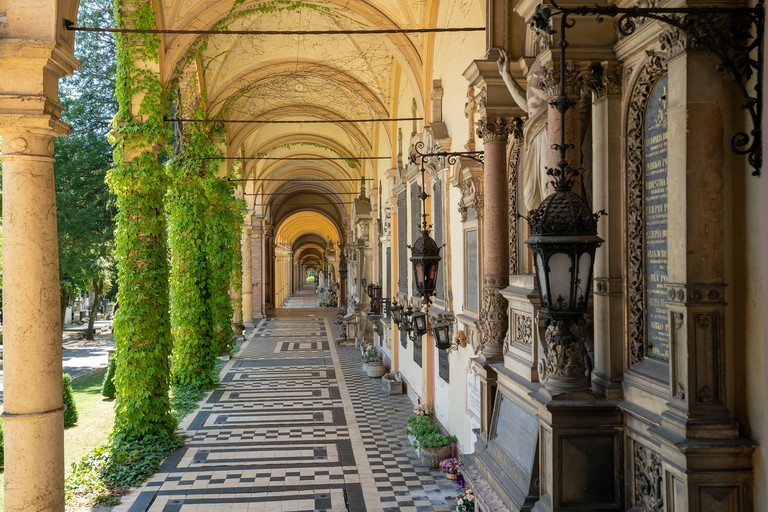 Zagreb, Croatia - July 18, 2017: The Mirogoj cemetery in Zagreb, Croatia, is a cemetery park considered to be among the most noteworthy landmarks and