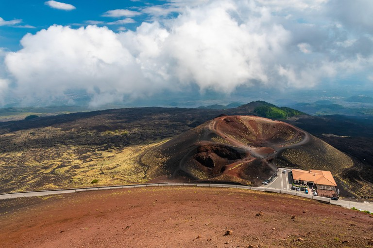 Mount Etna volcanic landscape and its typical vegetation, Sicily
