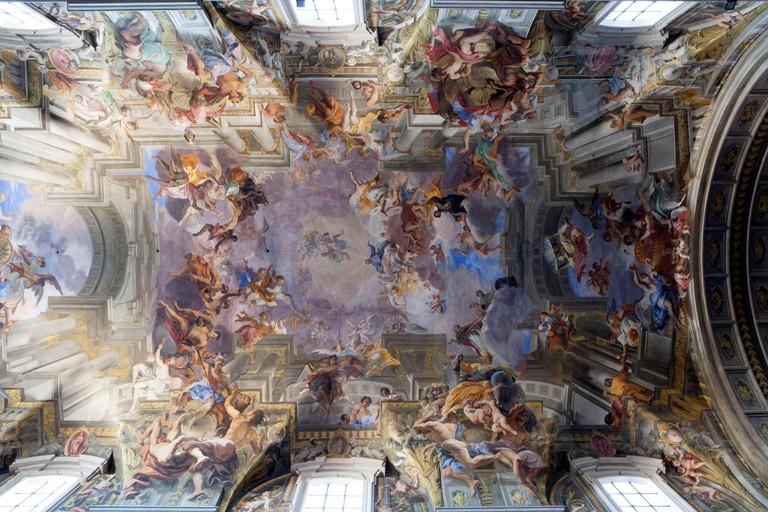 A Short Cut to Paradise, Andrea Pozzo ceiling at the church of St. Ignazio da Loyola (Ignatius of Loyola) (Church of the Gesu), Rome, Lazio, Italy
