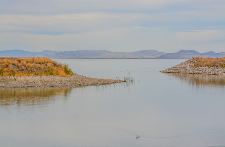 A marina on the reservoir bay of Willard Bay State Park in Box Elder County, Henefer, Utah