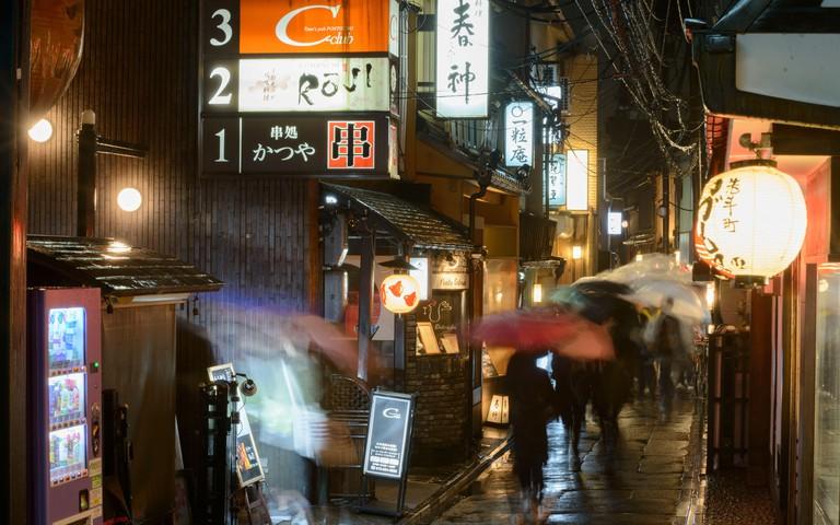Hozenji Yokocho Alley at night in Osaka, Japan.