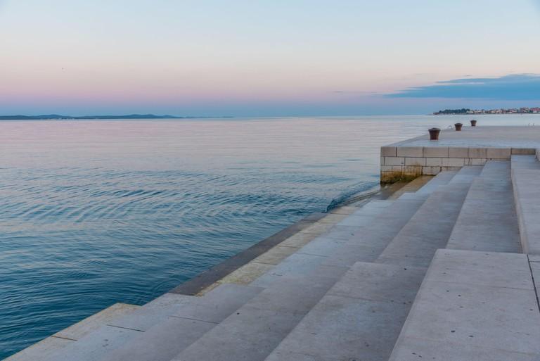 Sunrise view of Sea Organ installed in Croatian town Zadar