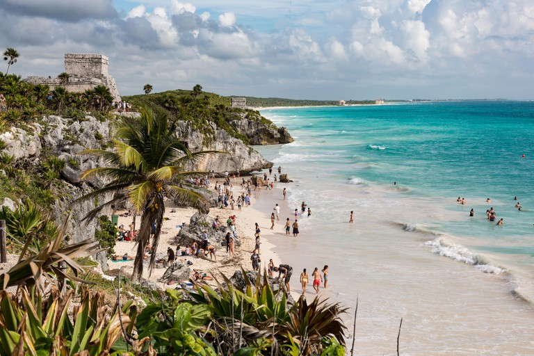Tulum, Mexico - January 24, 2018: Playa Ruinas, a beach frequented by visitors to the Tulum archeological site