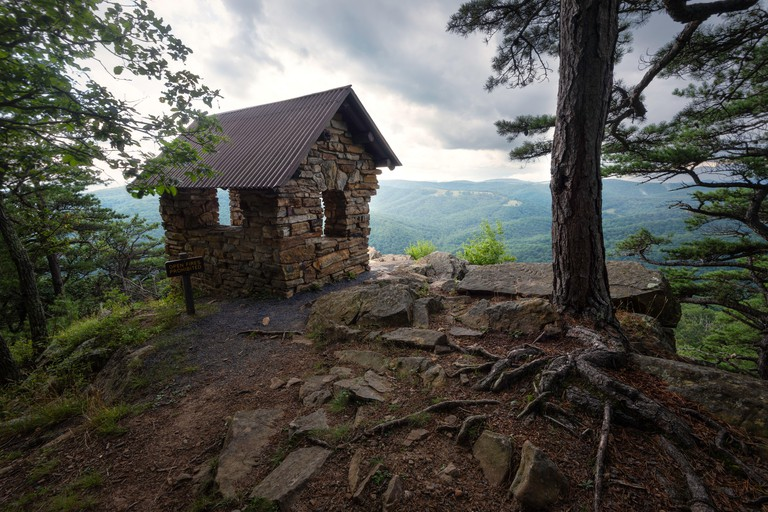 The stone shelter of Cranny Crow Overlook in Lost River State Park of West Virginia.