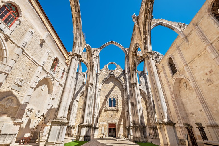 Main nave and arches ruins of the Convent of Our Lady of Mount Carmel. Lisbon, Portugal