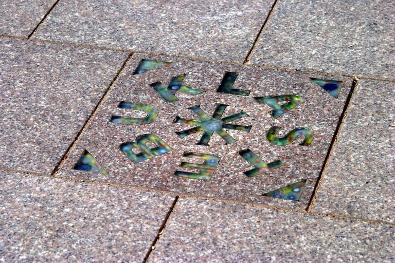 The Stebuklas tile in Katedros Aikste where the human chain joined in 1989 in Vilnius Lithuania