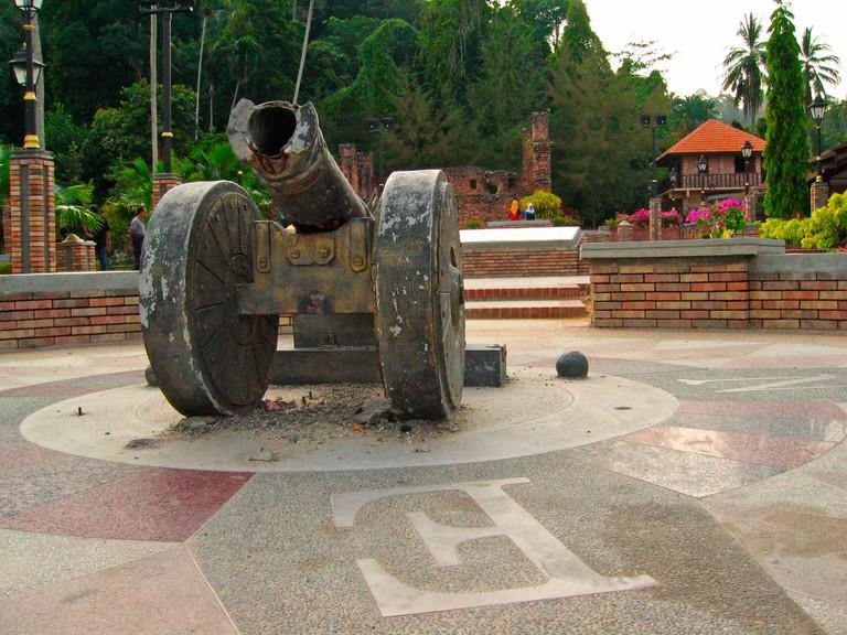 Cannon at ruins of 1670 Dutch fort Teluk Gedong Pangkor island Malaysia