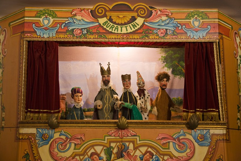 Handmade Sicilian puppets at the Teatromuseo dell Opera dei Pupi Cefalu Sicily Italy