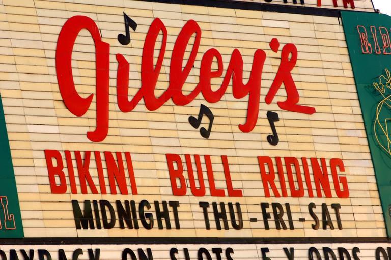 Stardust Casino bikini bull riding advert, Nevada USA