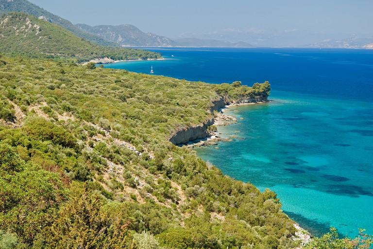 Scenic view of coastline in Dilek Peninsula Davutlar National Park, Kusadasi Turkey.. Image shot 2007. Exact date unknown.