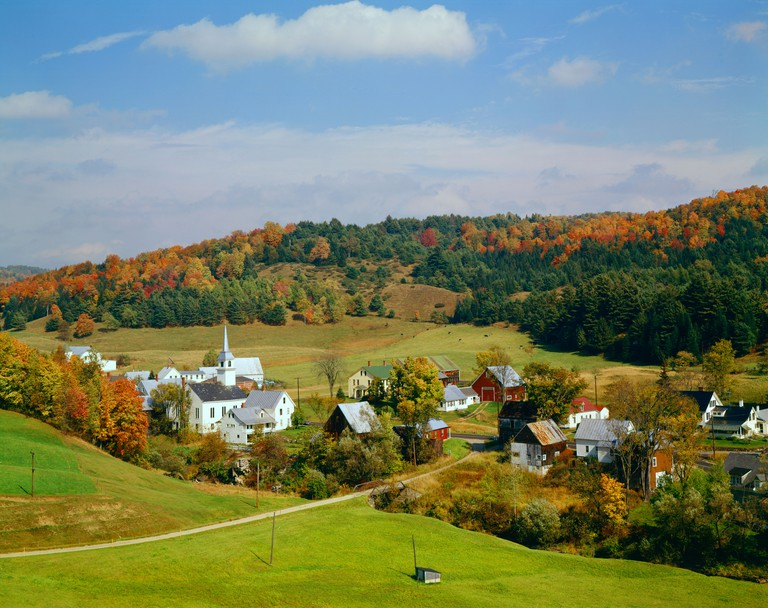 village of East Corinth in Vermont USA during fall foliage season