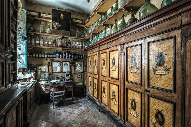 "The back room of the main hall of the old Pharmacy and Apothecary ""Farmacia di S. Maria della Scala"" in Piazza della Scala in Trastevere quarter, Rome, Italy"