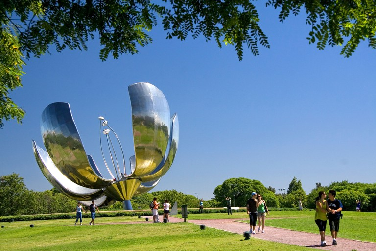 Floralis Generica sculpture in the United Nations Park in Buenos Aires Argentina.