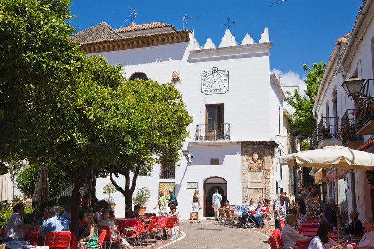Marbella Malaga Province Costa del Sol Spain Outdoor cafes in Plaza de los Naranjos