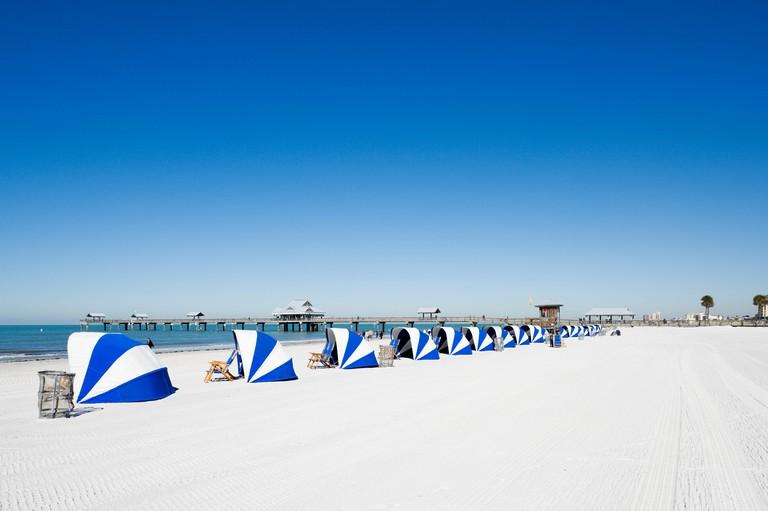 Beach near the Pier at Clearwater Beach, Gulf Coast, Florida, USA.