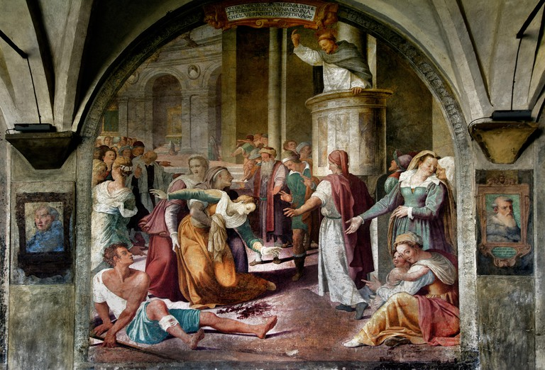 San Domenico frees a possessed by the devil 1581 Lorenzo Sciorina 1535-1598  Grand Cloister ( Basilica of Santa Maria Novella - Basilica di Santa Maria Novella ) Florence, Italy .