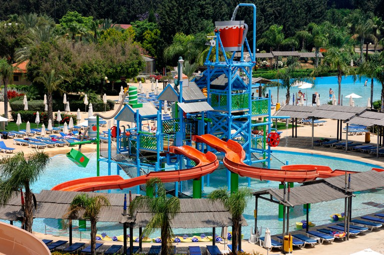Aerial view of a water park in Cyprus. Image shot 2007. Exact date unknown.