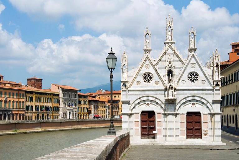 Arno River and Santa Maria della Spina Church, Pisa, Tuscany, Italy, Europe