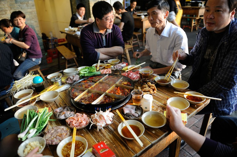 Residents have Hotpot in Chongqing, China. 22-Apr-2011