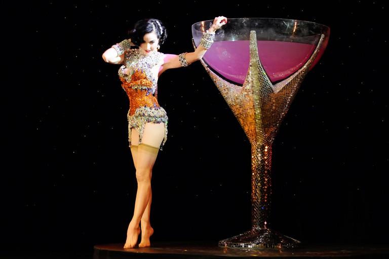Dita Von Teese performing with martini glass Seattle, Washington