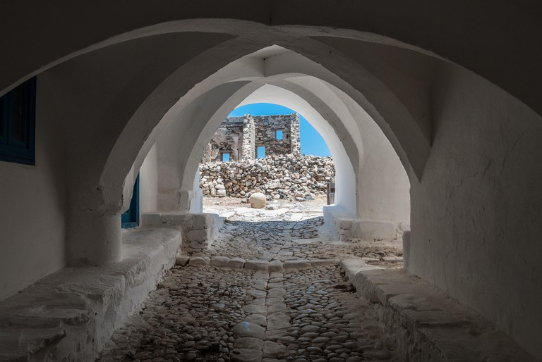 View of astypalaia's castle gate.  Astypalaia is an aegean island of Greece.