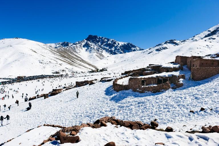 The ski resort of Oukaimeden in the Atlas Mountains near Marrakech, Morocco, North Africa