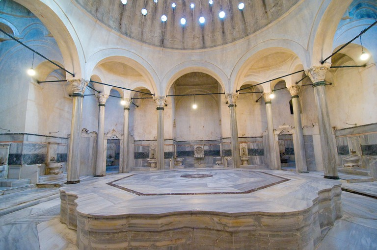 Cagaloglu Hamam in Sultanahmet, Istanbul was built by Sultan Mahmud I in 1741 to provide revenue for the Haghia Sophia Mosque.