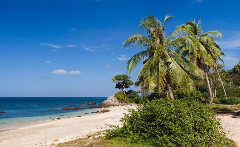 Palm beach, Golden Pearl Beach, Ko Jum or Koh Pu island, Krabi, Thailand, Southeast Asia