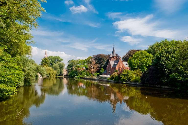 Bruges, Belgium, Minnewater lake panorama