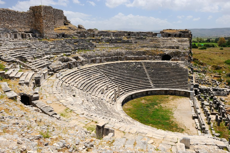 Ruins of Roman theatre at Miletus, Aegean Coast, Turkey