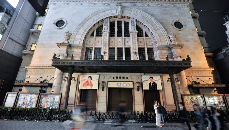 Shochiku-za Theatre in the Namba district of Osaka in Japan.
