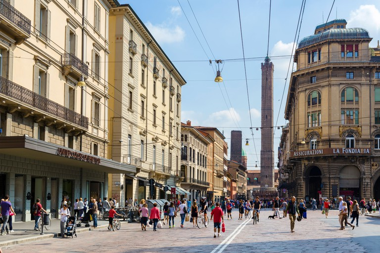 View from Piazza del Nettuno down Via Rizzoli towards the Due Torri, Bologna