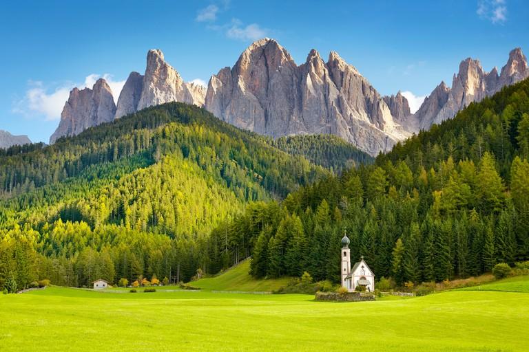 St Johann Church, Santa Maddalena, Tyrol, Dolomites Mountains landscape, Italy