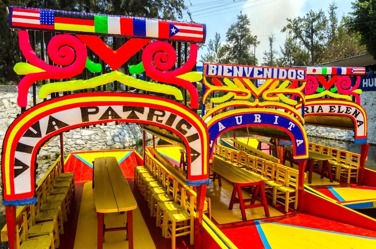 The colorful boats on DYBRXX The colorful boats on ancient Aztec canals at Xochimilco in Mexico City Aztec canals at Xochimilco in Mexico City