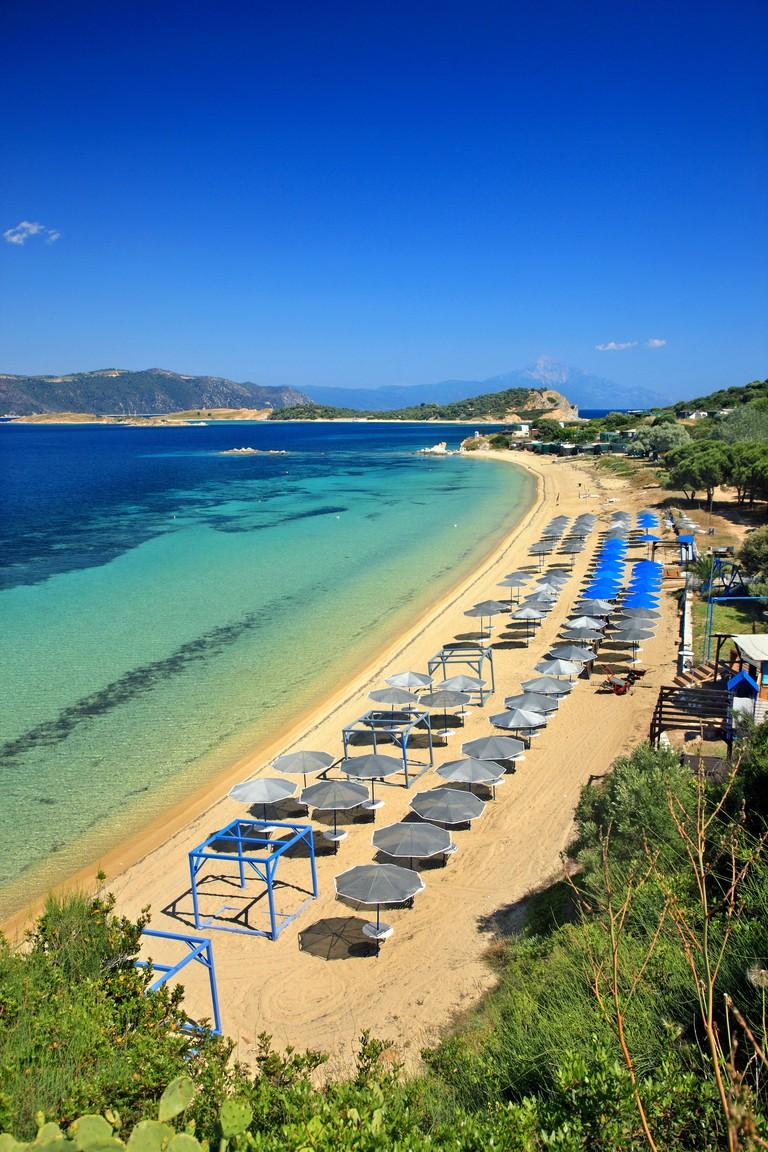"Megali Ammos beach, Ammouliani island, Halkidiki (""Chalkidiki""), Macedonia, Greece."