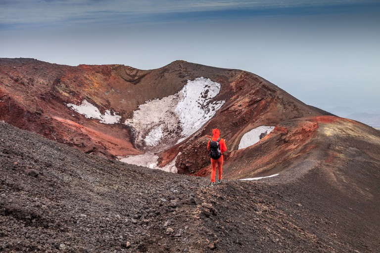 Hiking over  the top of mount Etna