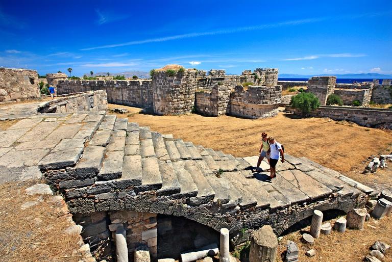 "Inside the castle of Neratzia (or ""Nerantzia""- Castle of the Knights), Kos town, Kos island, Dodecanese, Aegean sea, Greece."