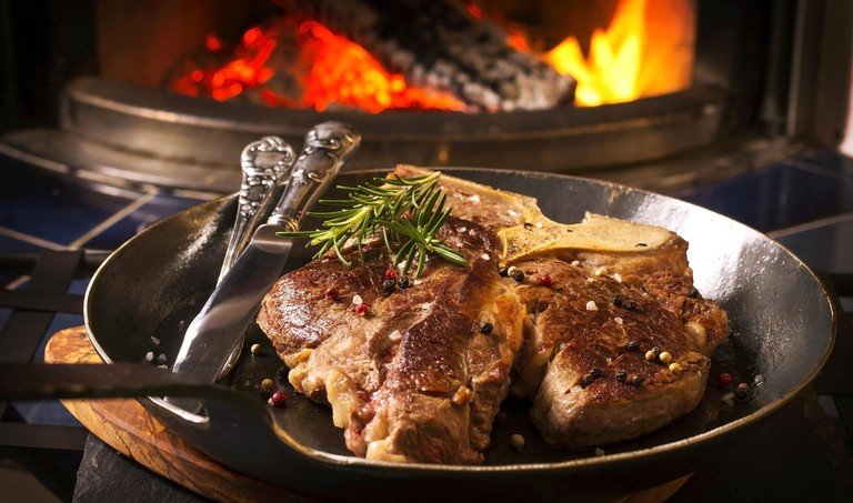 t-bone steak on the frypan. Image shot 10/2013. Exact date unknown.