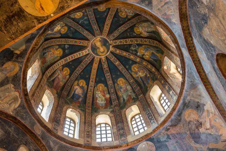 One of the decorative domes of Chora Church in Istanbul, displaying the Virgin Mary and child.